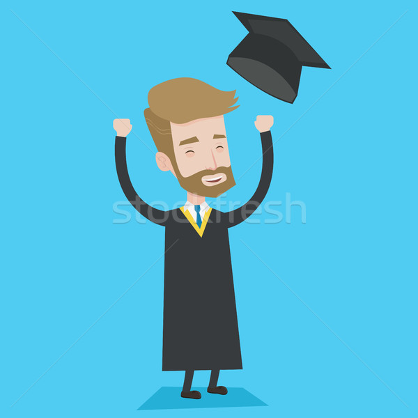 Graduate throwing up his hat vector illustration. Stock photo © RAStudio