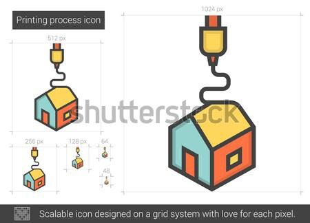 Printing process line icon. Stock photo © RAStudio