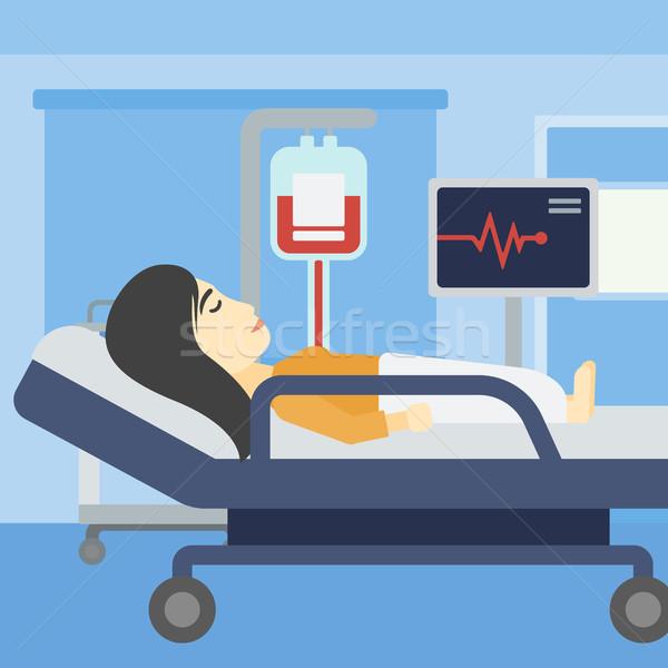 Nő kórházi ágy ázsiai fiatal nő ágy kórház Stock fotó © RAStudio