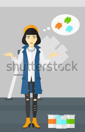 Femme trois imprimante asian jeune femme permanent Photo stock © RAStudio