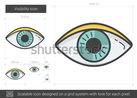 Photo stock: Visibilité · ligne · icône · vecteur · isolé · blanche