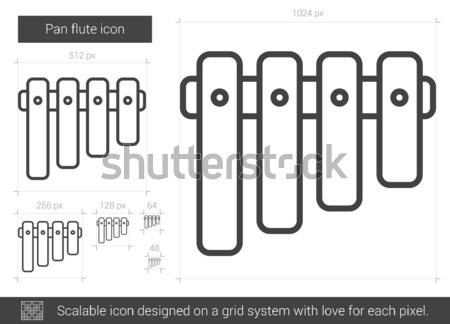 Pan flauta línea icono vector aislado Foto stock © RAStudio