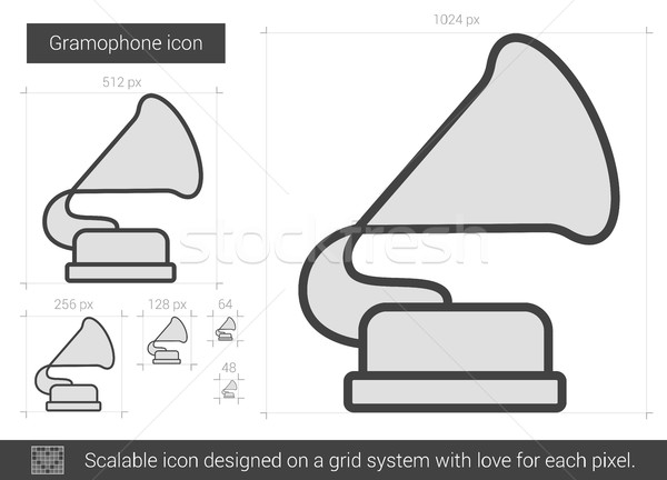 Gramofone linha ícone vetor isolado branco Foto stock © RAStudio