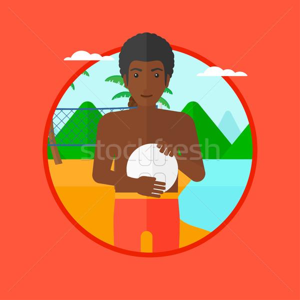 Foto stock: Praia · voleibol · jogador · bola