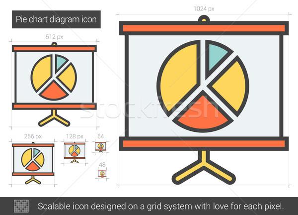 Cirkeldiagram diagram lijn icon vector geïsoleerd Stockfoto © RAStudio