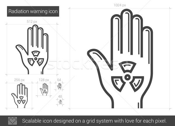 Zdjęcia stock: Promieniowanie · ostrzeżenie · line · ikona · wektora · odizolowany
