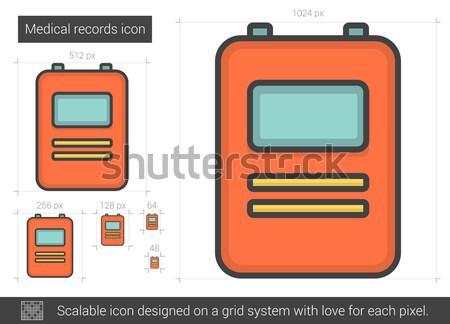 Foto stock: Médico · registros · linha · ícone · vetor · isolado