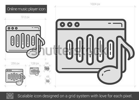 Online zenelejátszó vonal ikon vektor izolált Stock fotó © RAStudio