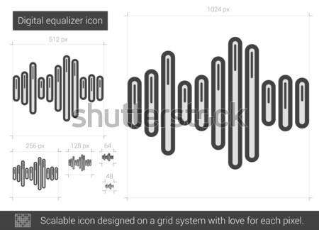 Digitális hangszínszabályozó vonal ikon vektor izolált Stock fotó © RAStudio