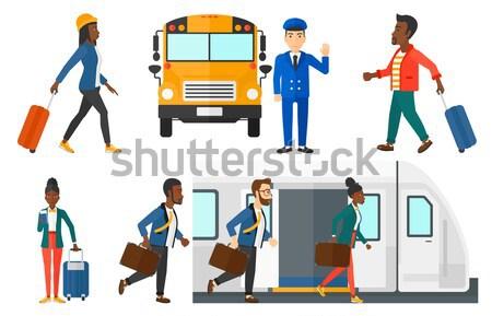 Stockfoto: Vector · ingesteld · business · glimlachend · man