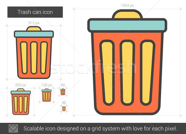мусорное ведро линия икона вектора изолированный белый Сток-фото © RAStudio