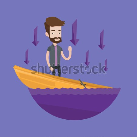 Stock photo: Businessman standing in sinking boat.