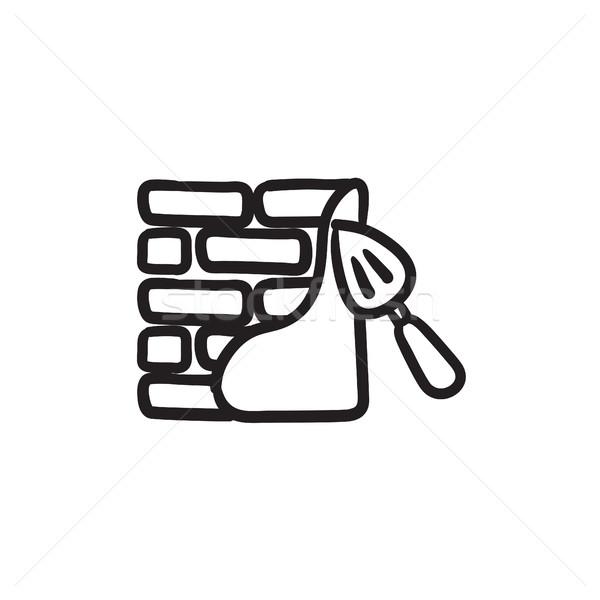 Spatula with brickwall sketch icon. Stock photo © RAStudio