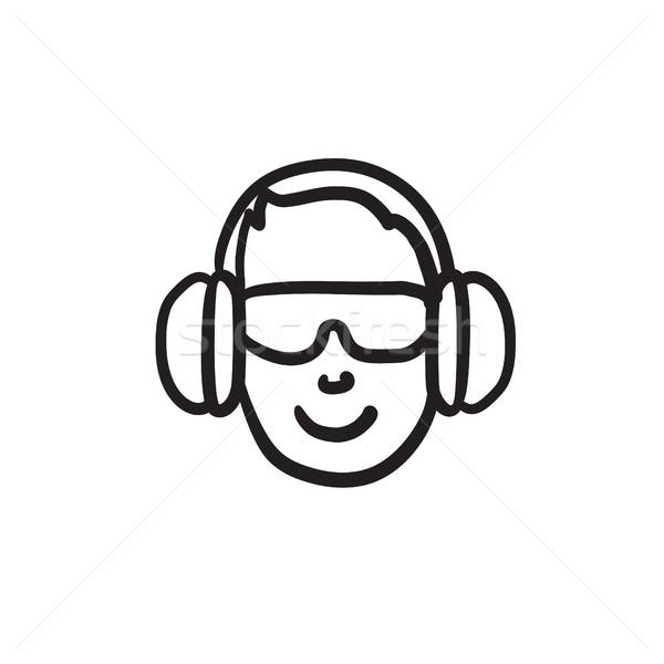 Stockfoto: Man · hoofdtelefoon · schets · icon · vector · geïsoleerd