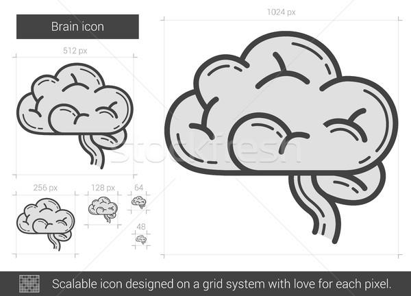 мозг линия икона вектора изолированный белый Сток-фото © RAStudio