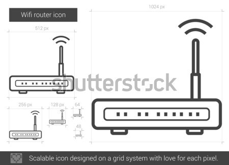 Stockfoto: Wifi · router · lijn · icon · vector · geïsoleerd