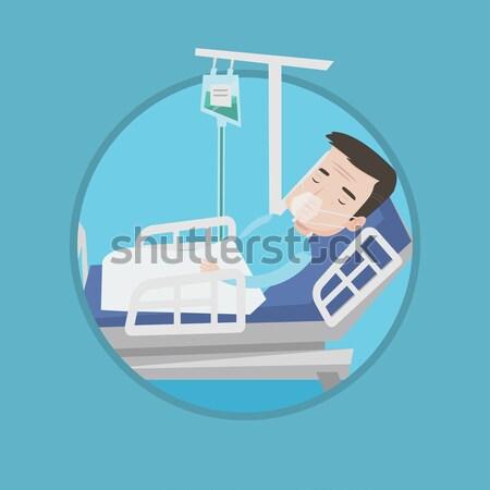 Nő kórházi ágy ágy kórház pihen szívritmus Stock fotó © RAStudio