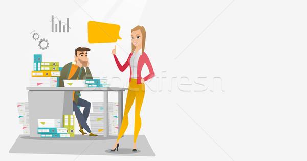 Oficinista empleador mirando feliz estresante Foto stock © RAStudio