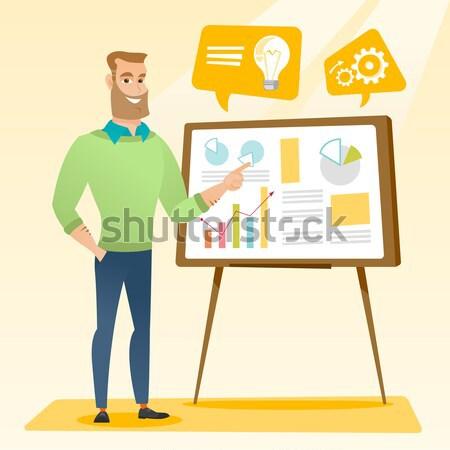 üzletember üzlet bemutató kaukázusi férfi mutat Stock fotó © RAStudio