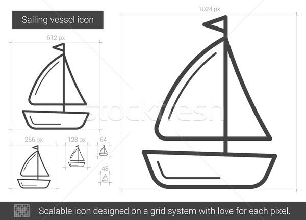 Vela línea icono vector aislado blanco Foto stock © RAStudio