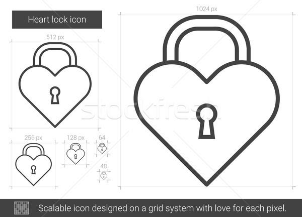 Heart lock line icon. Stock photo © RAStudio