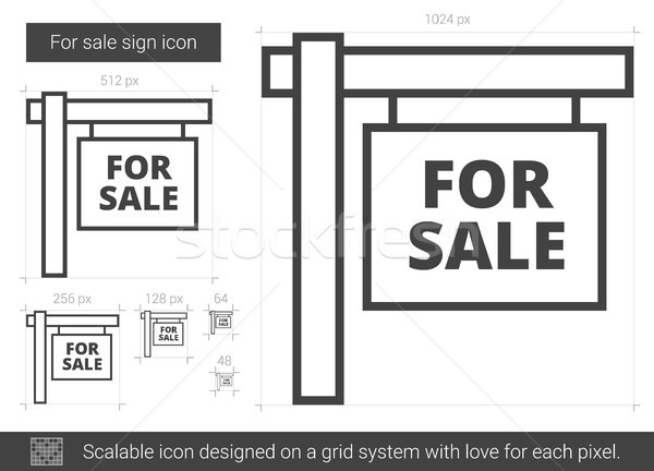 Venda assinar linha ícone vetor isolado Foto stock © RAStudio