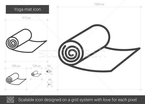 Yoga mat hat ikon vektör yalıtılmış beyaz Stok fotoğraf © RAStudio