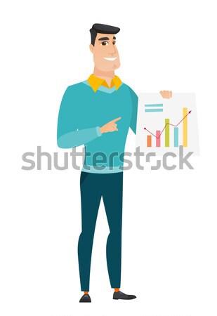Asian business man showing financial chart. Stock photo © RAStudio