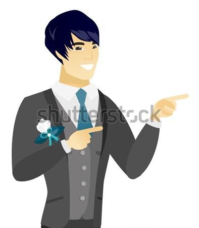 Jungen asian verwechselt Bräutigam Schultern zweifelhaft Stock foto © RAStudio