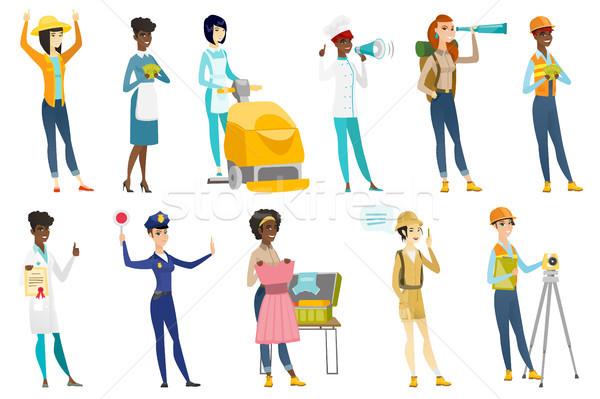 Professionelle Frauen Vektor Illustrationen Set Beruf Stock foto © RAStudio