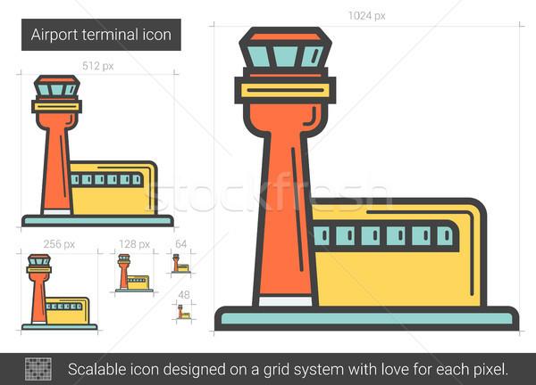 Luchthaven lijn icon vector geïsoleerd witte Stockfoto © RAStudio