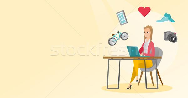 Young caucasian woman shopping online. Stock photo © RAStudio