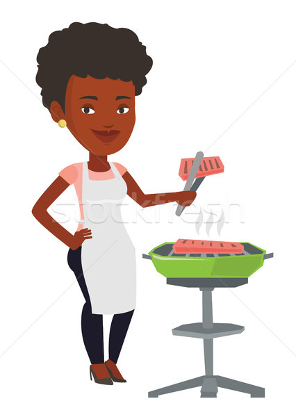 Nő főzés steak barbecue grill szabadtér barbecue Stock fotó © RAStudio