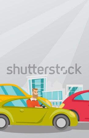 怒っ 白人 男 車 渋滞 ストックフォト © RAStudio