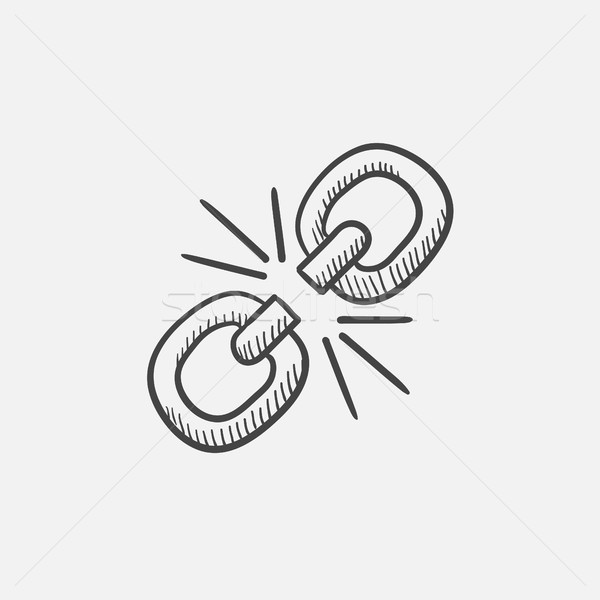 Quebrado link esboço ícone teia móvel Foto stock © RAStudio