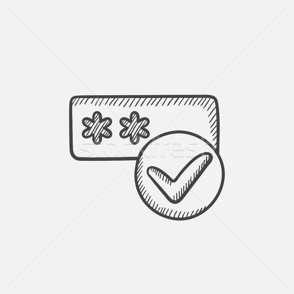 Password with check mark sketch icon. Stock photo © RAStudio