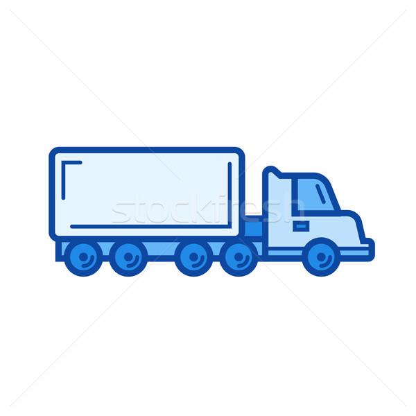 Vracht vrachtwagen lijn icon vector geïsoleerd Stockfoto © RAStudio
