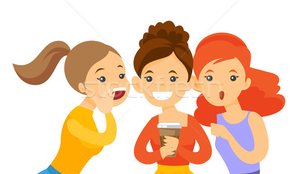 Stock photo: Young caucasian white women sharing gossips.