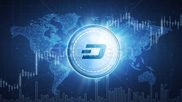 Dash coin on hud background with bull stock chart. Stock photo © RAStudio