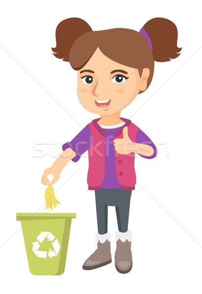 Stock photo: Little girl throwing banana peel in recycling bin.