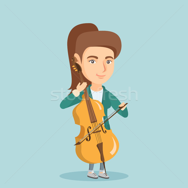 Young caucasian woman playing the cello. Stock photo © RAStudio