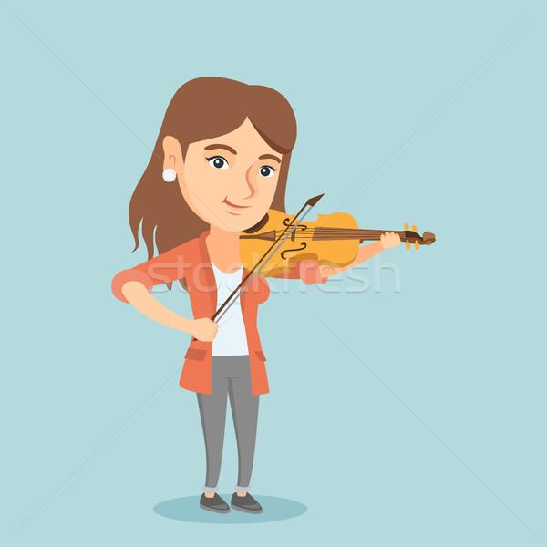 Fiatal kaukázusi nő játszik hegedű zenész Stock fotó © RAStudio