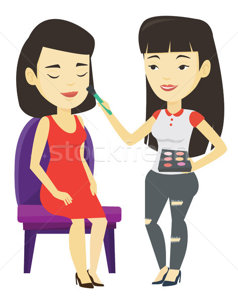 Visagiste doing makeup to young stylish girl. Stock photo © RAStudio