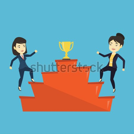 Nők versenyző üzlet díj kettő ázsiai Stock fotó © RAStudio