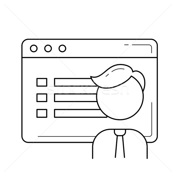 Browser window with user interface line icon. Stock photo © RAStudio