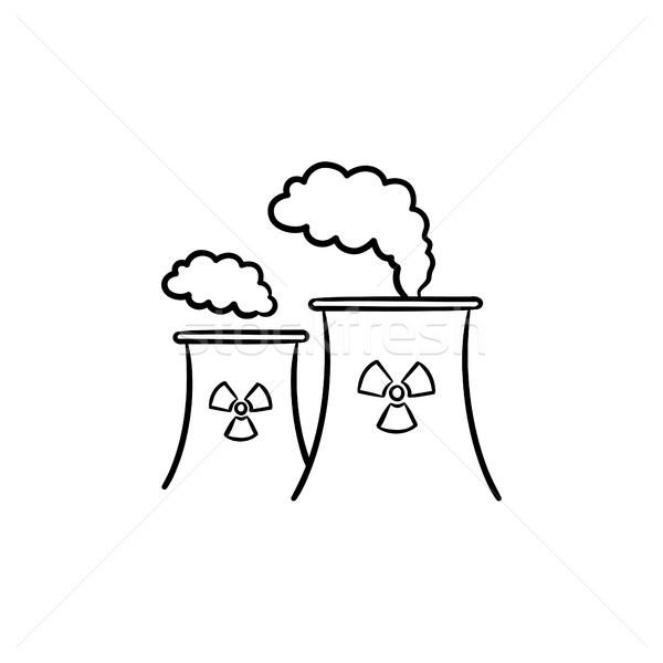 Nukleáris erőmű kézzel rajzolt rajz ikon füst Stock fotó © RAStudio