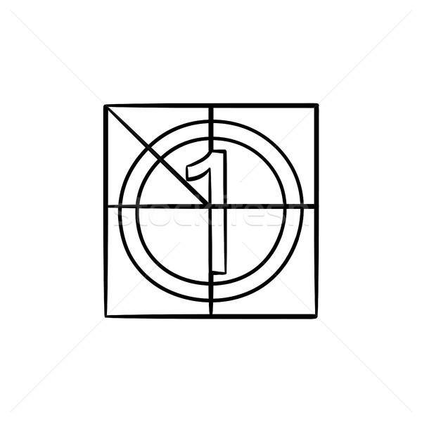 Film conto alla rovescia contorno doodle icona Foto d'archivio © RAStudio