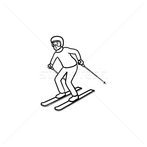 Skier skiing downhill hand drawn outline doodle icon. Stock photo © RAStudio