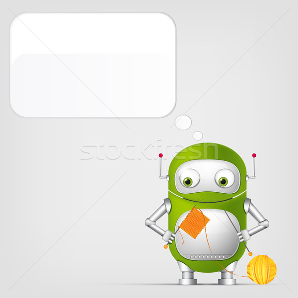 Foto stock: Cute · robot · gris · gradiente · vector