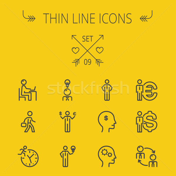 Stock photo: Business thin line icon set